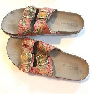 White Mountain Floral Cork Top Slide Sandals 9 M